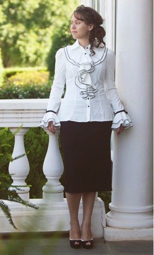 Maxine vintage ruffled flouncing long sleeve black and white blouse with bell cuffs available in S-L.